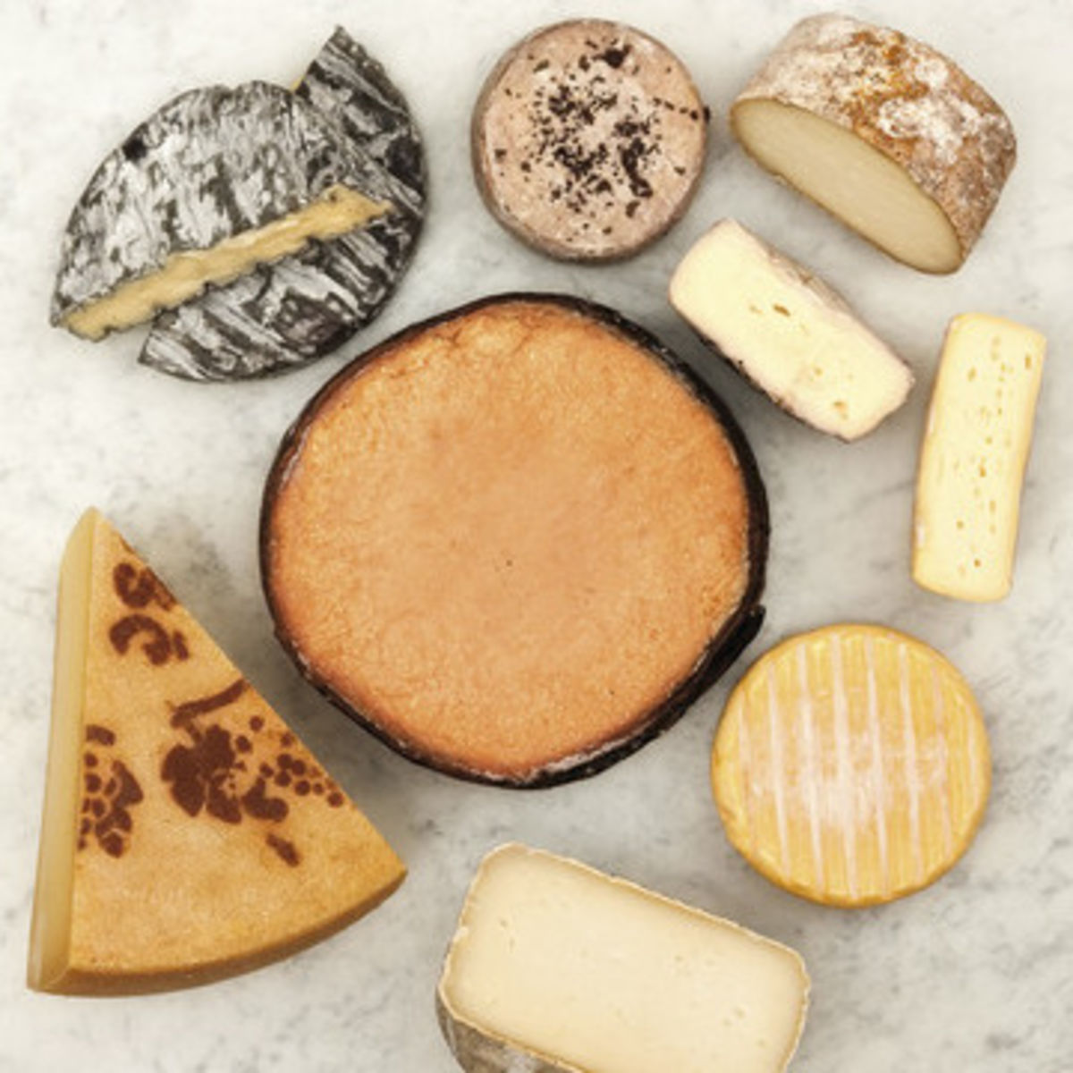 The picture shows several kinds of refined cheese.
