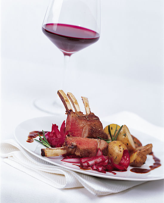 A picture shows a rack of lamb
