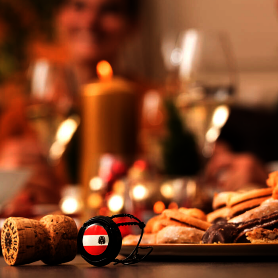 Austrian wine banderole in a christmas setting