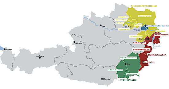A picture shows a map of the winegrowing regions of Austria