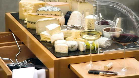A picture shows a table with cheese