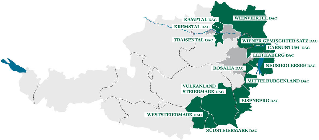 A map shows Austria's DAC winegrowing regions, © AWMB.