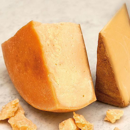 A picture shows sliced cheese