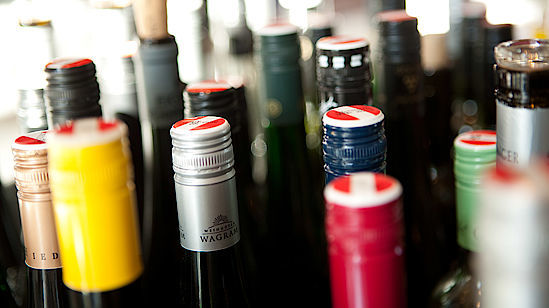 A picture shows different wine bottles