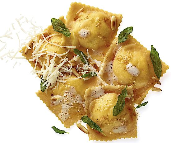 A picture shows ravioli with ricotta filling