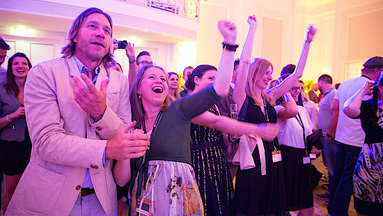 a picture shows people celebrating at The Big Austrian Wine Party