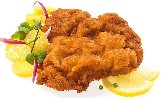 A picture shows a Schnitzel