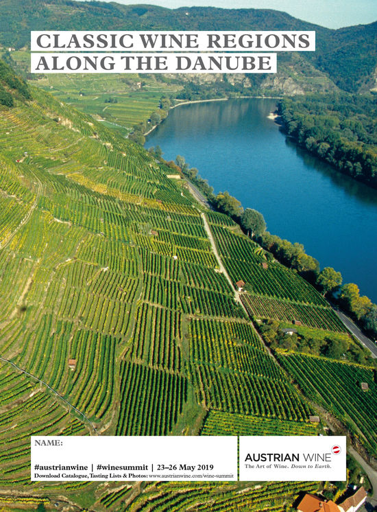 The picture shows the cover of the tasting list of the Journey Along the Danube, which features a picture of vineyards Along the Danube.